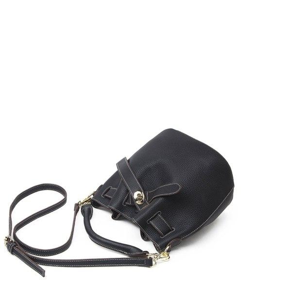 Plain Cowhide Leather Bucket Bag Small Women's Shoulder Bag