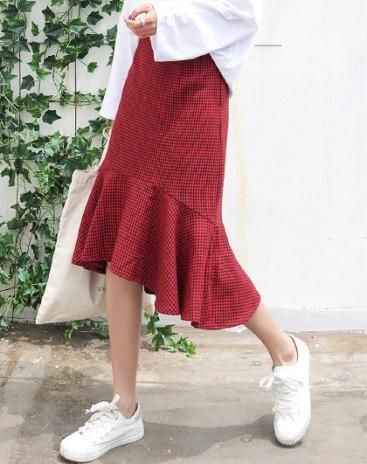 Red 3/4 Length Women's Mermaid Skirt