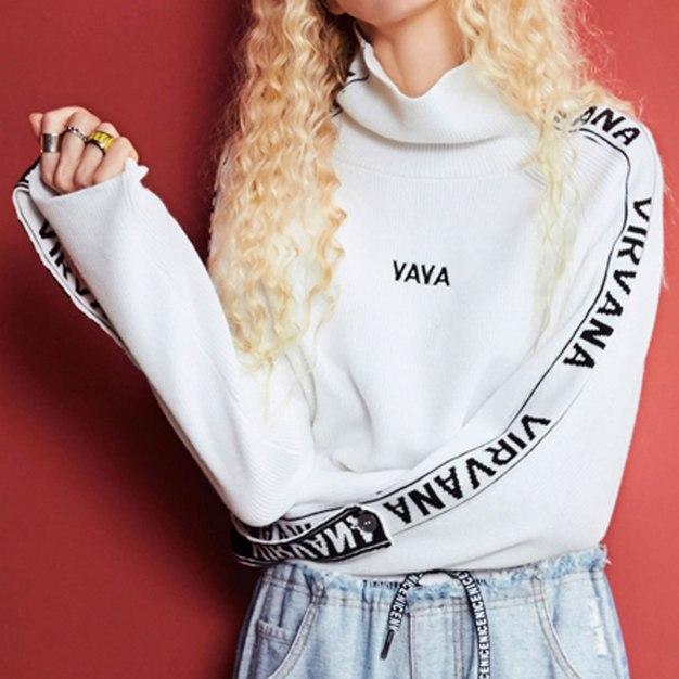 High Neck Long Sleeve Loose Women's Sweater