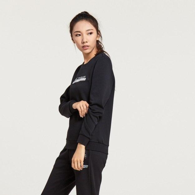 Black Round Neck Warm Loose Women's Sweatshirt