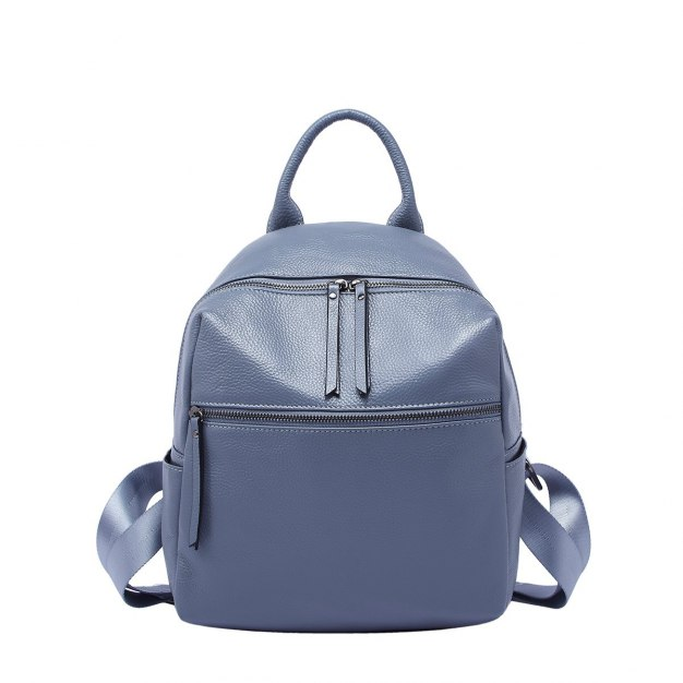 Blue Cowhide Leather Medium Plain Women's Backpack