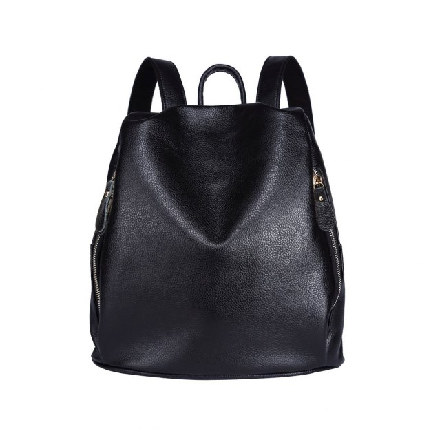 Black Cowhide Leather Medium Fruit Women's Backpack