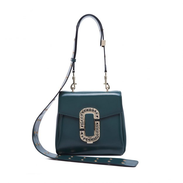 Green Plain Cowhide Leather Medium Women's Crossbody Bag