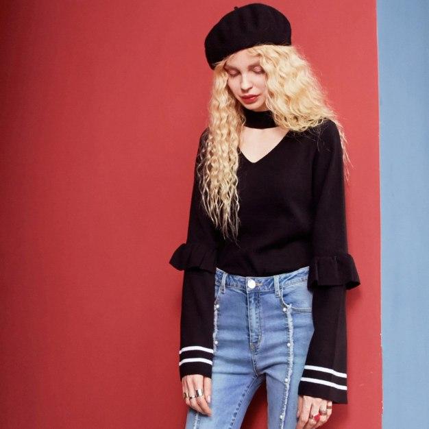 V Neck Long Sleeve Standard Women's Sweater