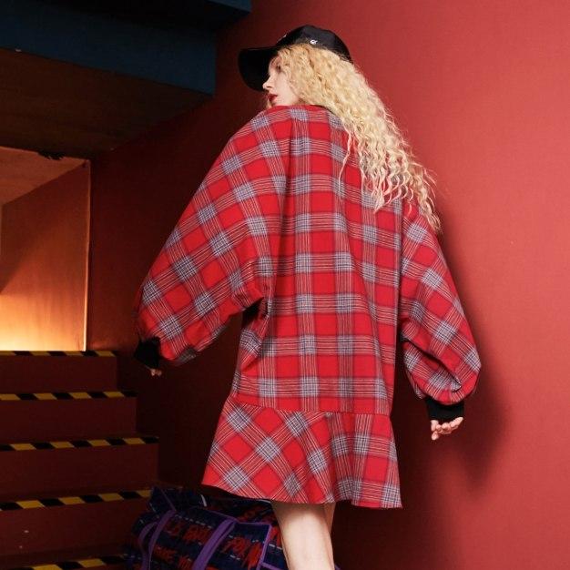 Round Neck Long Sleeve Peplum Loose Women's Dress