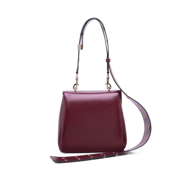 Red Plain Cowhide Leather Medium Women's Crossbody Bag