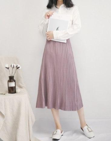 Purple High Waist 3/4 Length Women's A Line Skirt