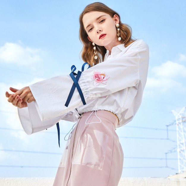 White Embroidery Shirt Collar Long Sleeve Women's Shirt