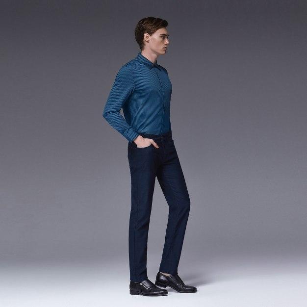 Green Stripes Square Neck Long Sleeve Standard Men's Shirt
