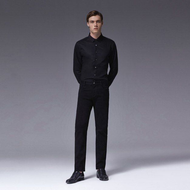Black Plain Square Neck Long Sleeve Standard Men's Shirt