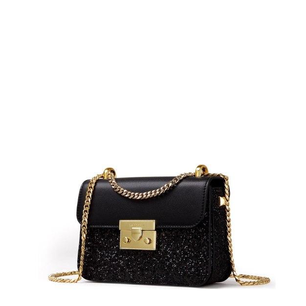 Black Plain Organ Bag Small Women's Crossbody Bag