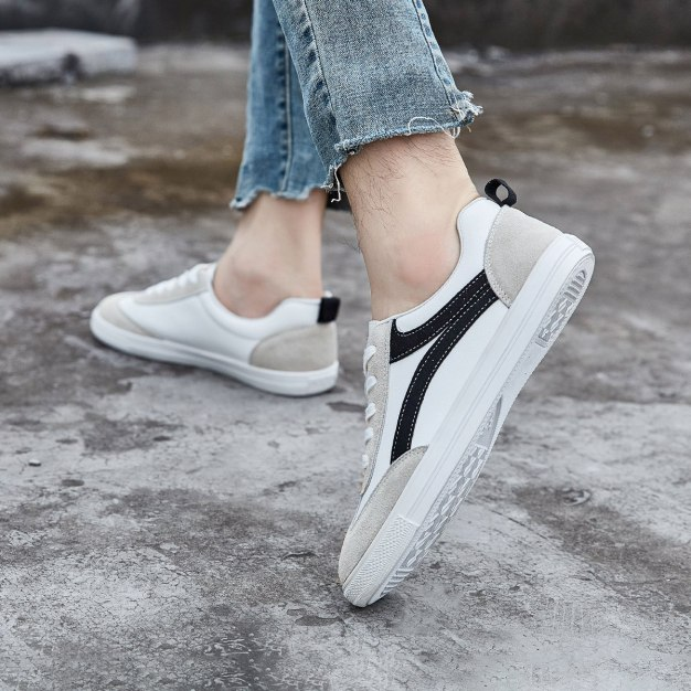 White Round Head Anti Skidding Men's Casual Shoes
