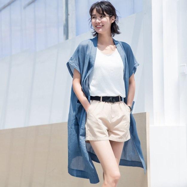 Blue Plain Short Sleeve Loose Women's Outerwear