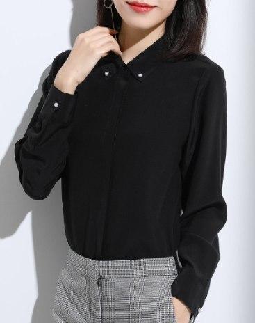 Black Plain Shirt Collar  Long Sleeve  Women's Shirt
