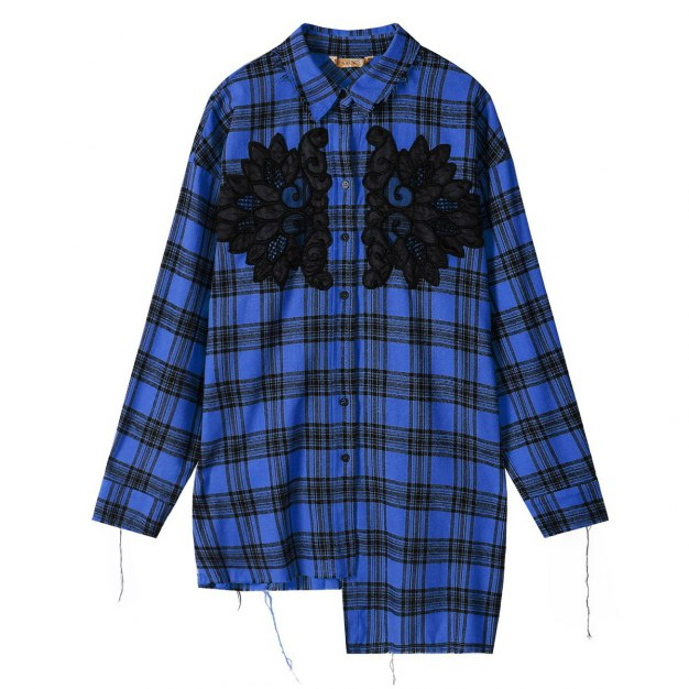 Square Neck Single Breasted Long Sleeve Loose Women's Shirt
