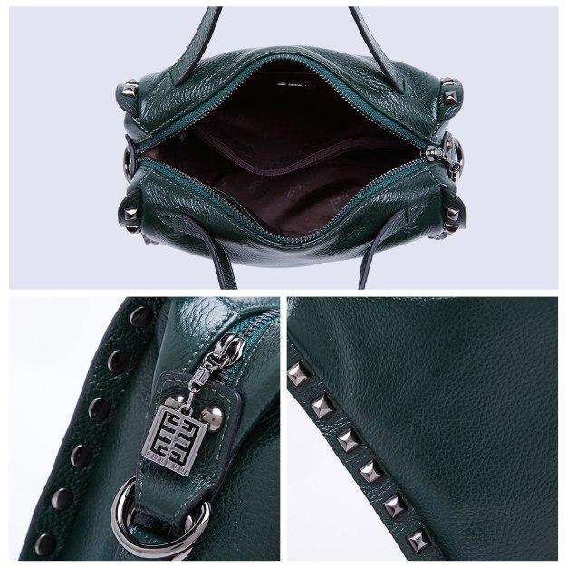Green Plain Cowhide Leather Medium Women's Tote