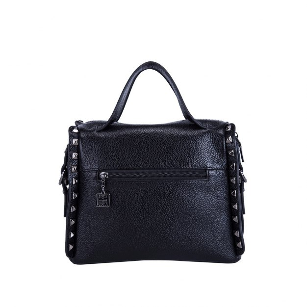 Black Plain Cowhide Leather Medium Women's Tote