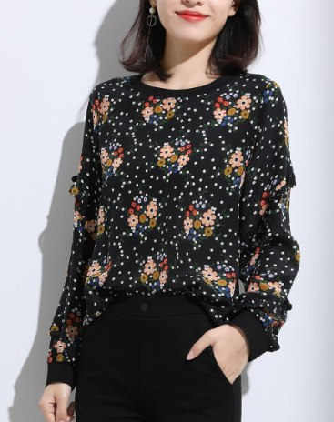 Black Print Round Neck Elastic Long Sleeve  Women's Shirt