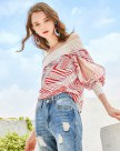 Red Stripes Off Neckline 3/4 Sleeve Standard Women's T-Shirt