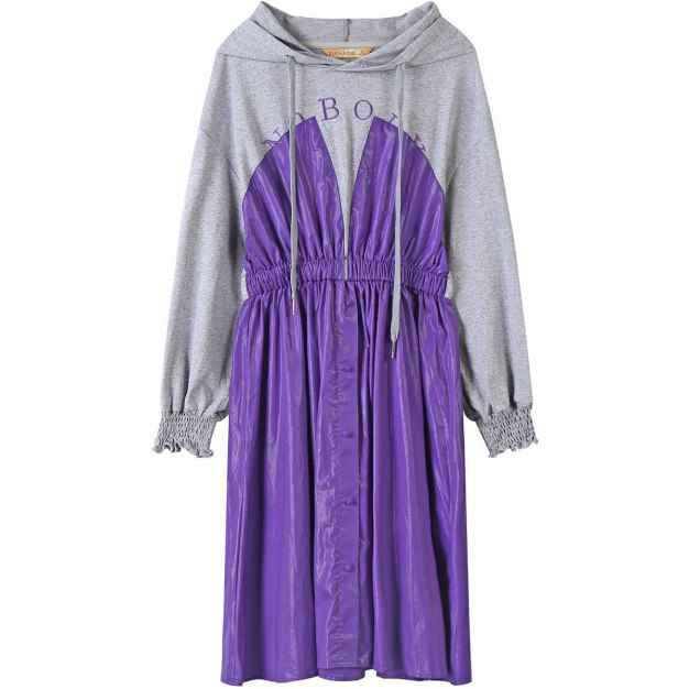 Hoodie Long Sleeve 3/4 Length A Line Loose Women's Dress