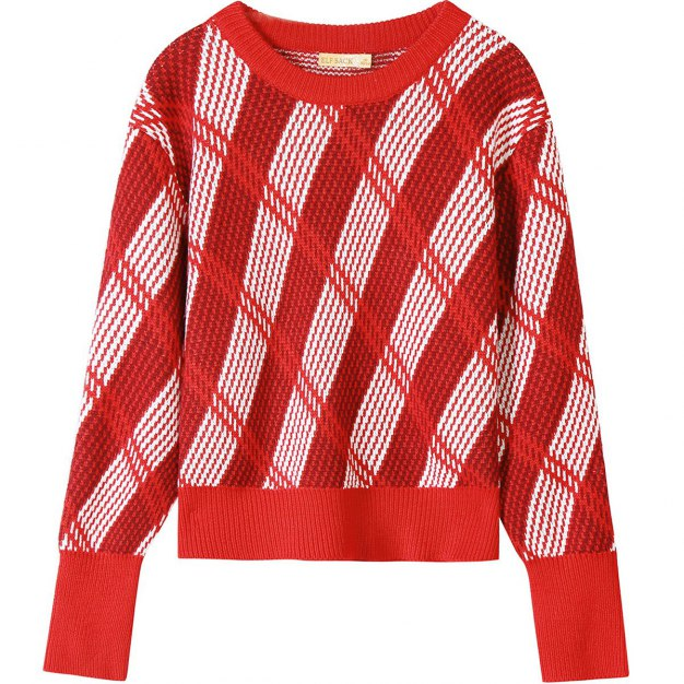 Round Neck Elastic Long Sleeve Loose Women's Sweater