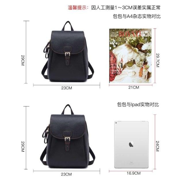 Black Cowhide Leather Medium Plain Women's Backpack