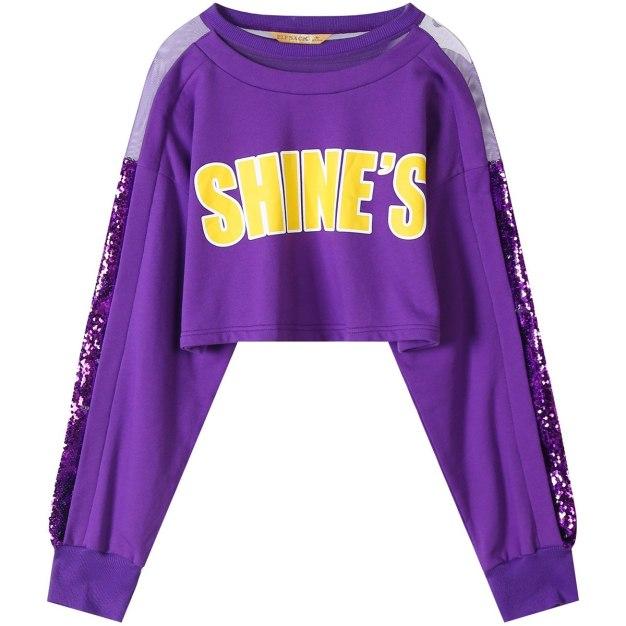 Round Neck Elastic Long Sleeve Women's Sweatshirt