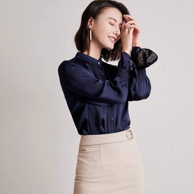 Blue Plain Shirt Collar Long Sleeve Women's Shirt