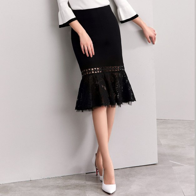 Black 3/4 Length Women's Mermaid Skirt