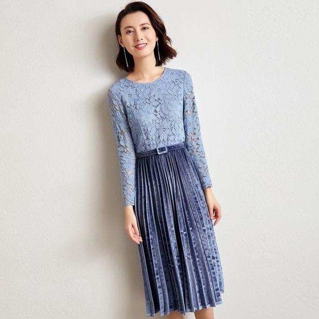 Blue Round Neck Cropped Sleeve 3/4 Length Women's Dress