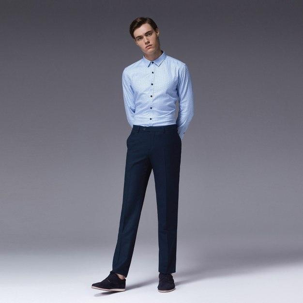 Blue Dot Square Neck Long Sleeve Standard Men's Shirt