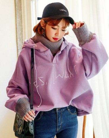 Purple Long Sleeve Loose Women's Sweatshirt