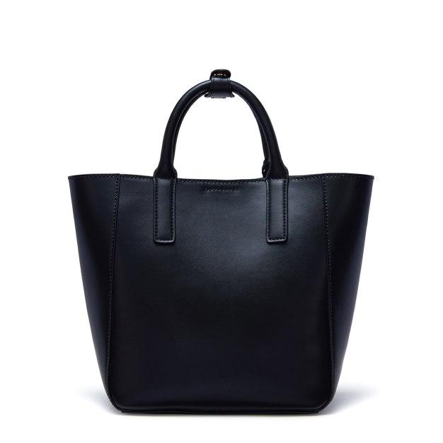 Black Plain Cowhide Leather Fashion Bag Medium Women's Tote