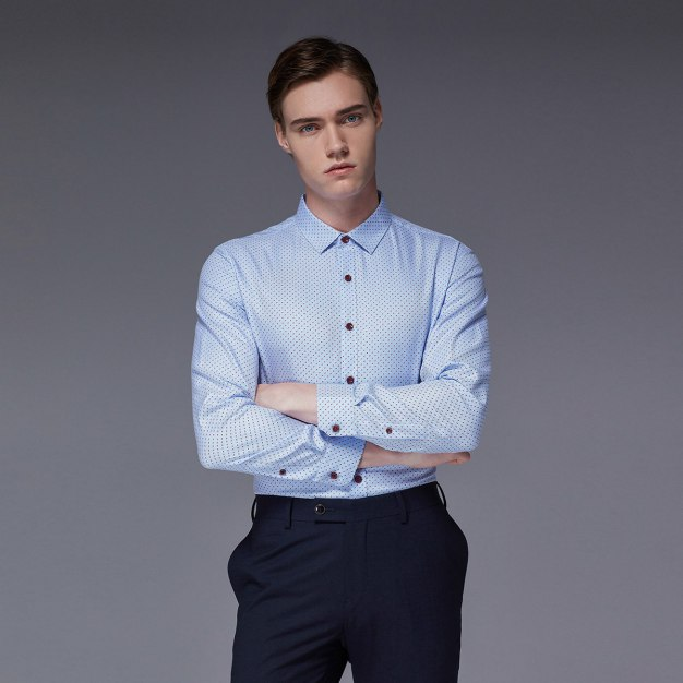 Red Dot Square Neck Long Sleeve Standard Men's Shirt