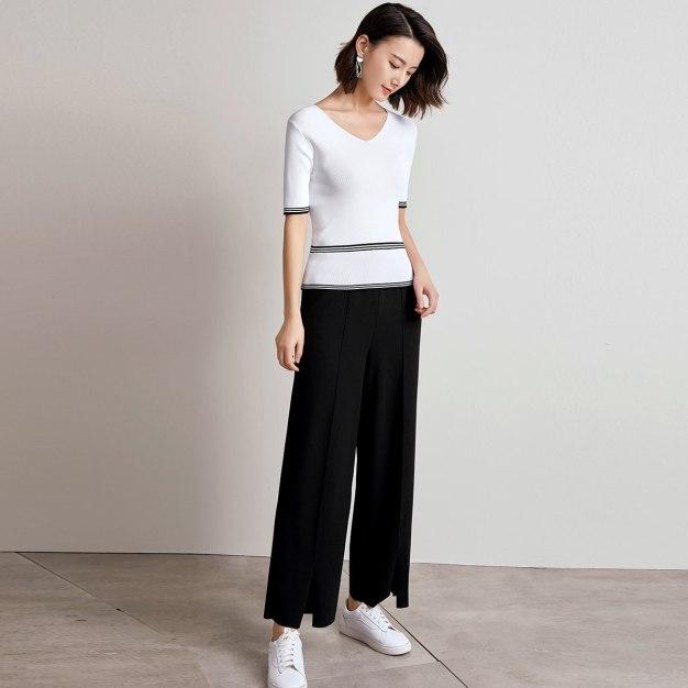 Black Drawstring Type Long Women's Pants
