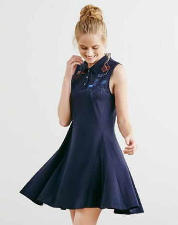 블루 코튼 민소매 여성 잠옷