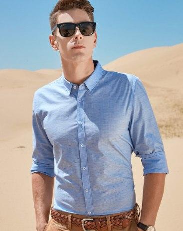 Blue Print Square Neck Long Sleeve Standard Men's Shirt