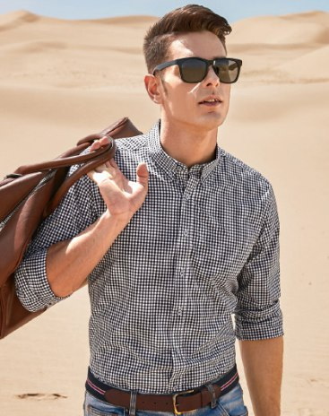 Black Square Neck Long Sleeve Standard Men's Shirt