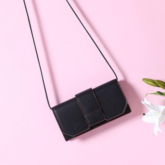 Black Plain PU Organ Bag Small Women's Crossbody Bag