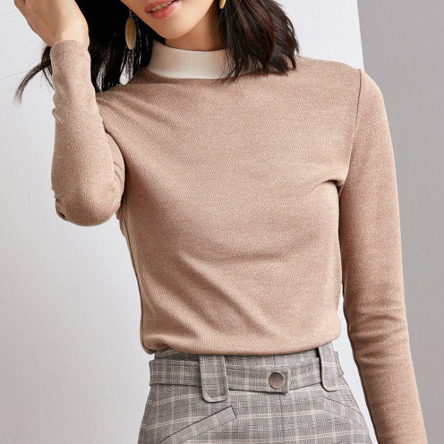 Camel Plain Half High Collar Long Sleeve Women's T-Shirt