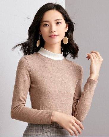 Camel Plain Half High Collar Long Sleeve Women's T-Shirt