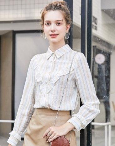 Stripes Shirt Collar Long Sleeve Women's Shirt