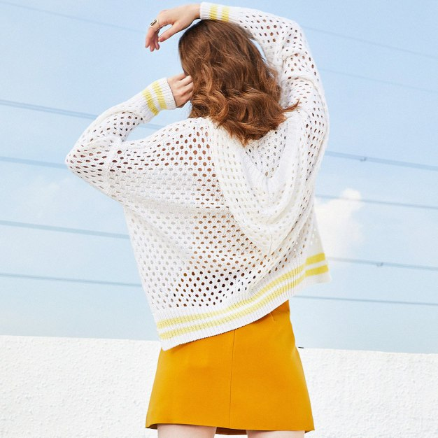 White Stripes V Neck Elastic Long Sleeve Loose Women's Knitwear