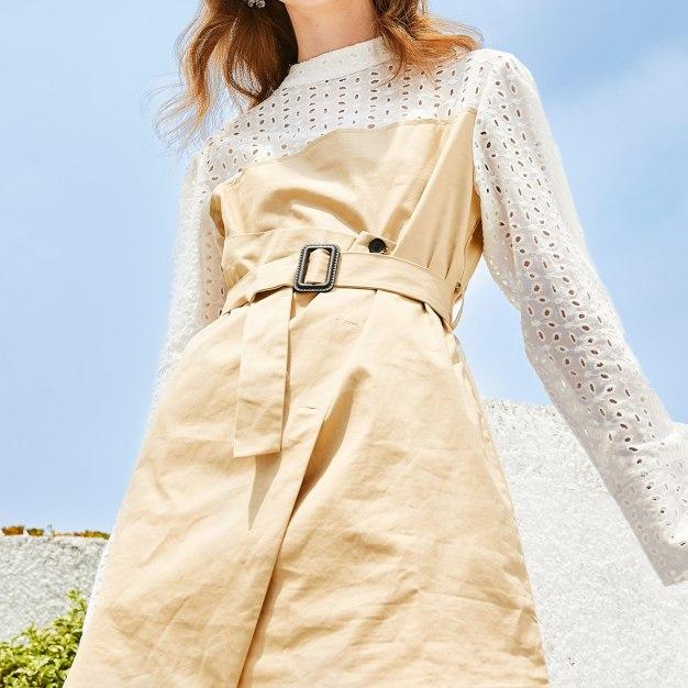 Stand Collar High Waist Asymmetric Fitted Women's Dress