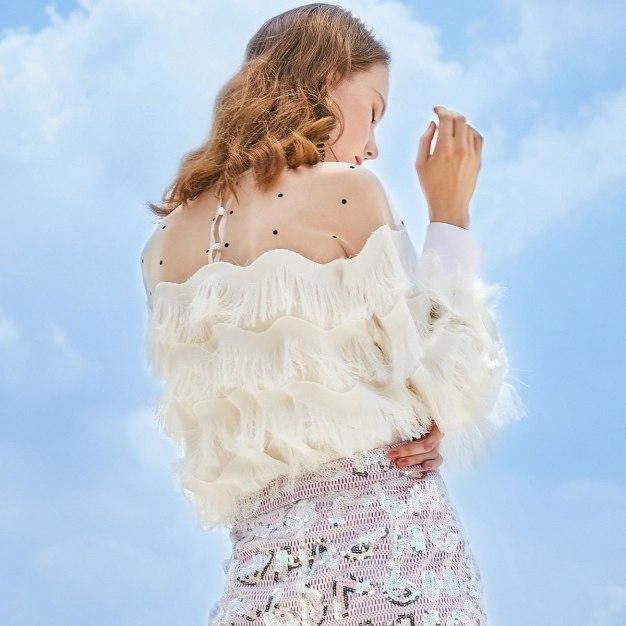 White Dot Regular Collar Elastic Long Sleeve Women's Shirt