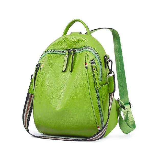 Green Cowhide Leather Big Plain Women's Backpack