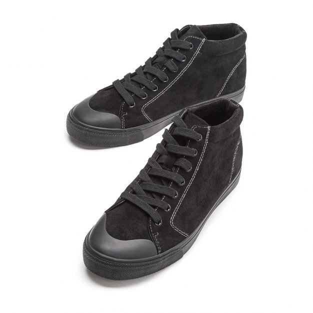 Black High Top Round Head Men's Casual Shoes