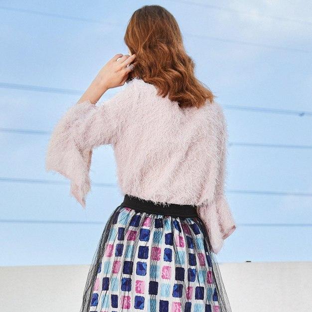 Pink Plain Stand Collar Elastic 3/4 Sleeve Women's Knitwear