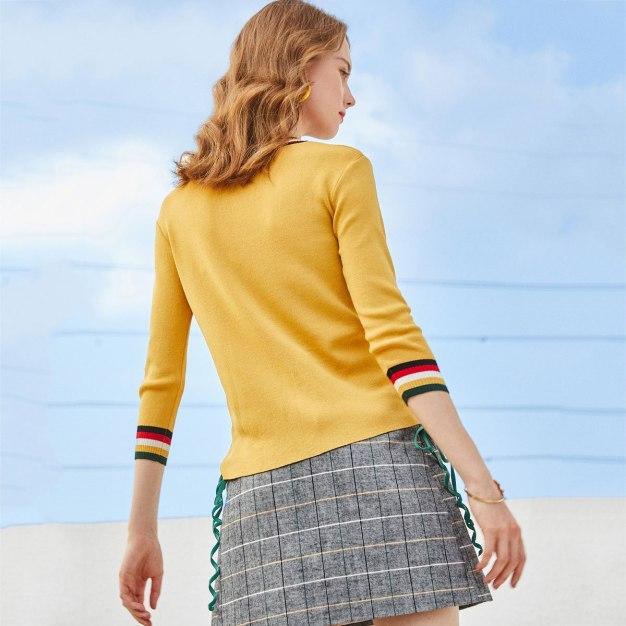 Round Neck 3/4 Sleeve Fitted Women's Innerwear Top