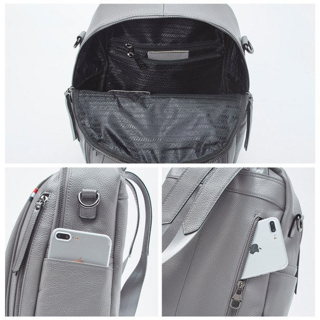 Gray Cowhide Leather Big Plain Women's Backpack